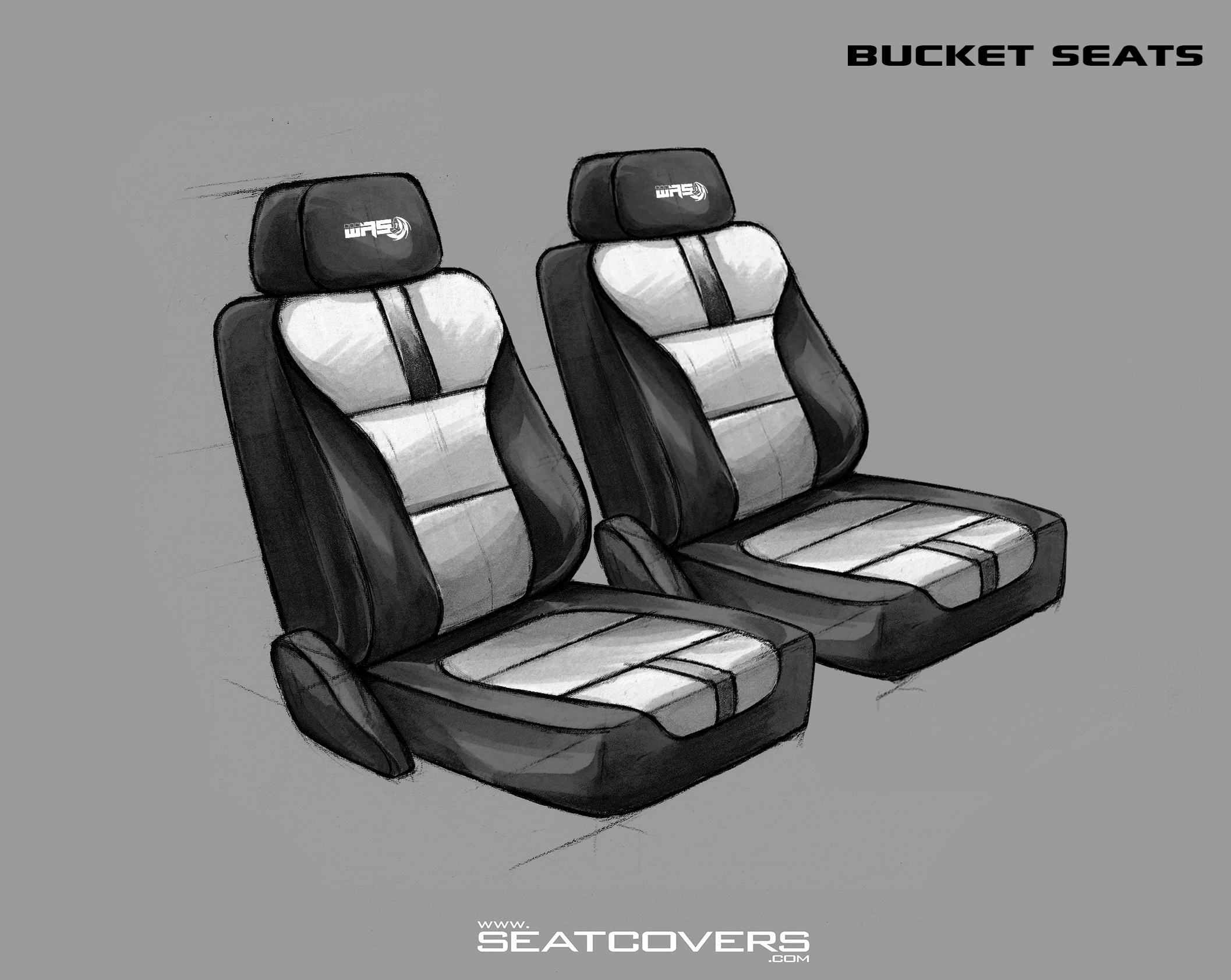 2 Bucket Seats (colored) (correction with spaced center)
